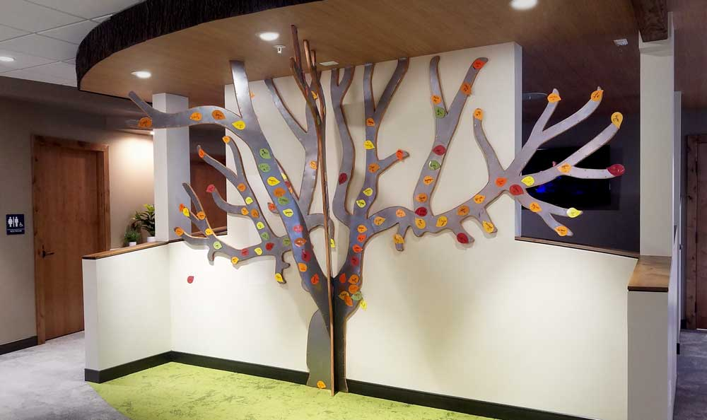 steel and wood apple tree