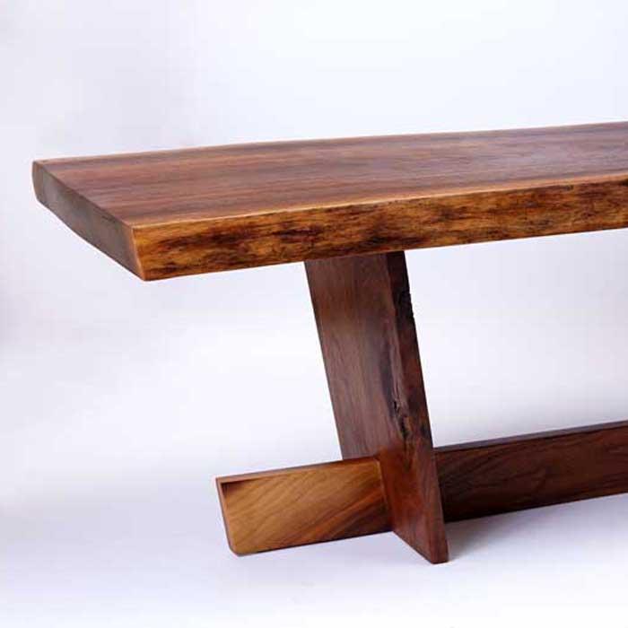 live edge walnut coffee table/bench