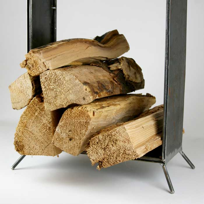 modern firewood caddy
