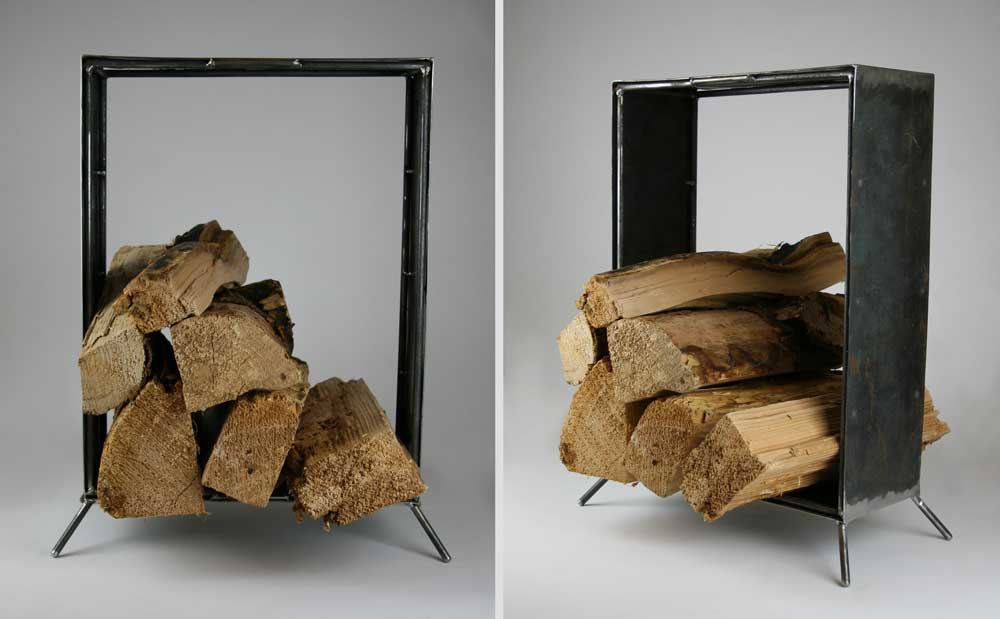 modern steel firewood caddy