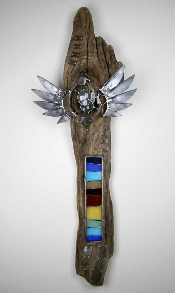 driftwood glass and steel wall sculpture