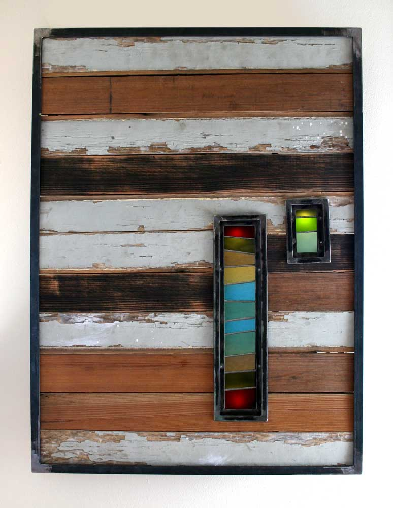 reclaimed wood planks, steel, stained glass