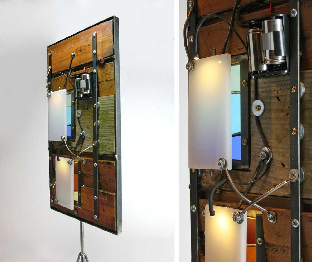 reclaimed wood, steel, stained glass